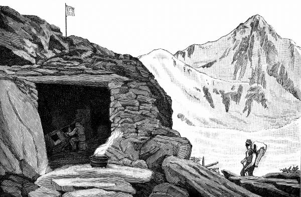 "Louis Agassiz, at the""Hotel de Neuchatelois,"" shelter he built around a huge boulder on the Aar glacier, Switzerland, during his 1840 expedition."