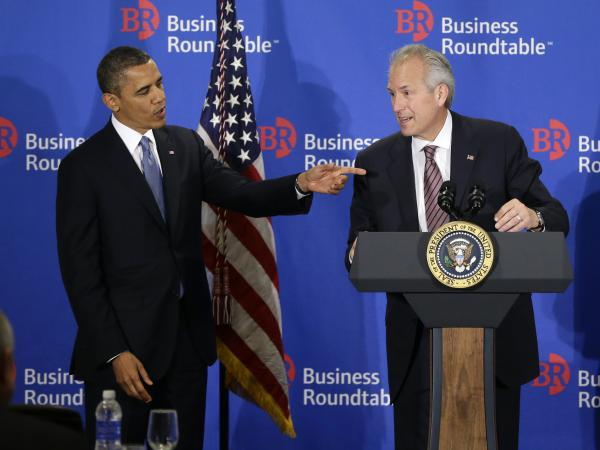 President Obama is introduced to the Business Roundtable by Boeing CEO Jim McNerney in Washington on Wednesday.