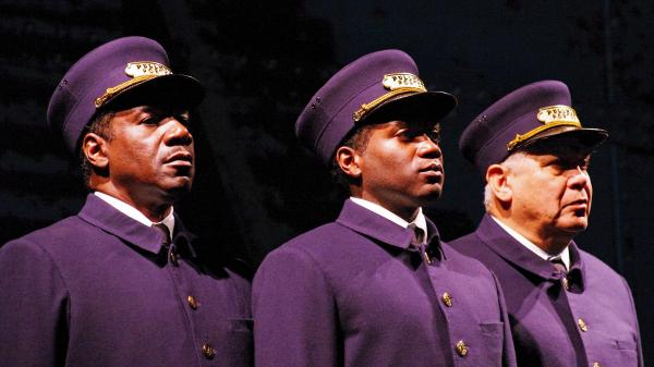 Left to right: Actors Cleavant Derricks (as Sylvester), Warner Miller (as Cephas) and Larry Marshall (as Monroe) star in <em>Pullman Porter Blues</em>.