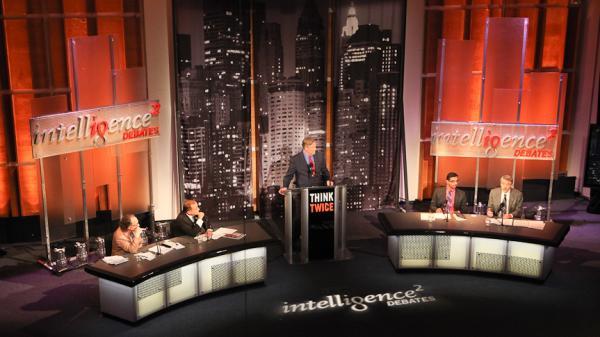 "Two teams face off over the motion ""Science Refutes God"" in an <em>Intelligence Squared U.S.</em> debate."