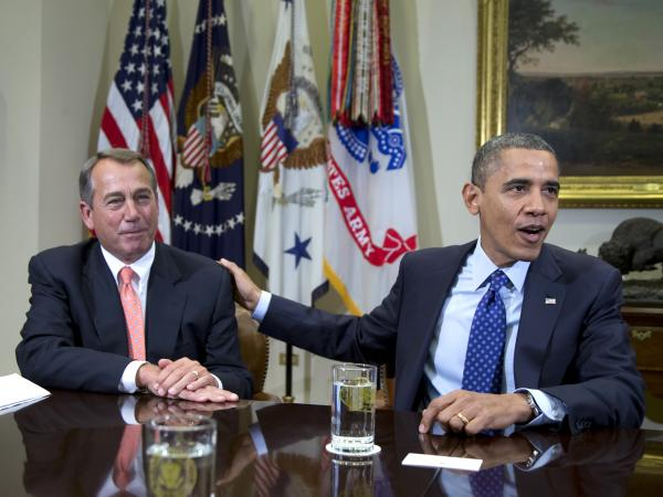 "President Obama and House Speaker John Boehner at the White House on Nov. 16. Administration officials say the two men met Sunday to discuss the ""fiscal cliff."""