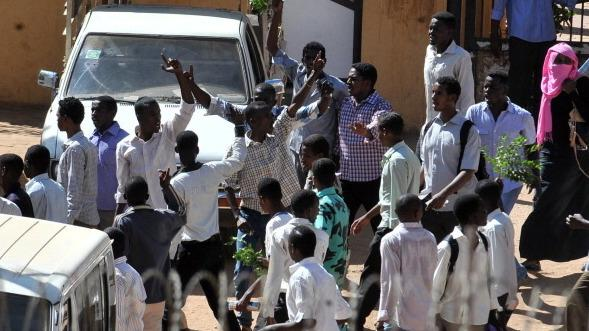 Sudanese students demonstrate in the Red Sea city of Port Sudan on Sunday. They were protesting after four students, originally from the Darfur region, were killed last week.