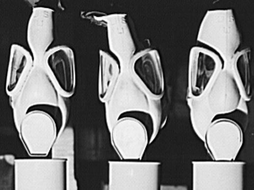 These gas masks were reconditioned at the Edgewood Arsenal for civilian defense use during World War II. Later, in the 1950s and '60s, the arsenal near the Chesapeake Bay was used for secret chemical weapons testing run by the U.S. Army.
