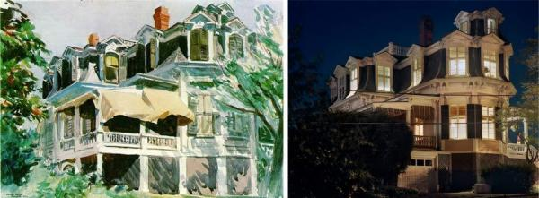 <em>Mansard Roof</em>, 1923, by Edward Hopper (left), which is now at the Brooklyn Museum, compared with <em>Mansard Roof </em>by Gail Albert Halaban (right). Though the building is the same, Halaban photographed it at night.