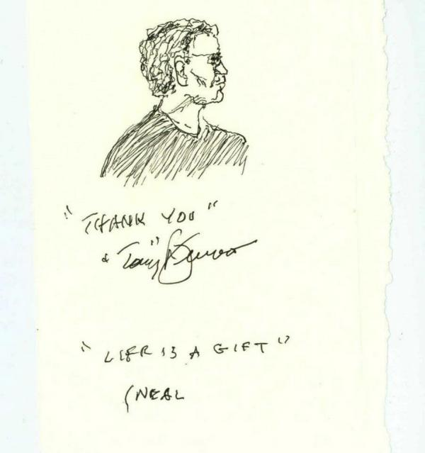 During his visit, Bennett gave NPR engineer Neal Rauch a special thank you with this sketch.