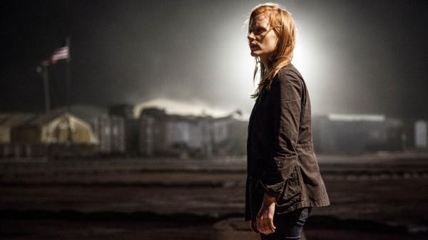 Stationed in a covert base overseas, Maya (Jessica Chastain) is a member of the elite team of spies and military operatives who secretly devote themselves to finding Osama bin Laden in <em>Zero Dark Thirty</em>.