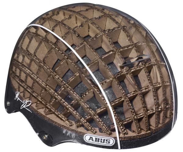 Using a cardboard liner allows a cycling helmet to be lighter and stronger than standard models, says designer Anirudha Surabhi.