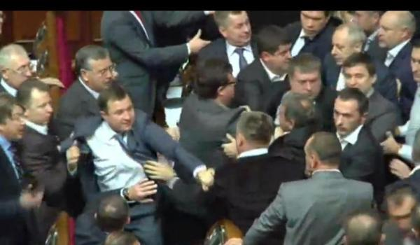 Ukrainian parliament brawls on Thursday, Dec. 13, 2012.