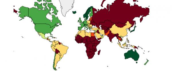 Average life expectancy around the world has ticked up over the past twenty years. Here it's shown for men in 2009. The extremes are in dark green and dark red, which represent 78 to 82 years old and less than 66 years old, respectively.