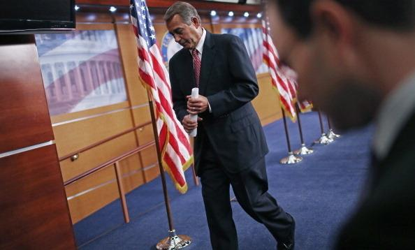 Speaker of the House John Boehner (R-OH) leaves after his weekly news briefing at the U.S. Capitol Thursday. Boehner said negotiations with President Barack Obama to are stalled until the White House offers more federal budget spending cuts.