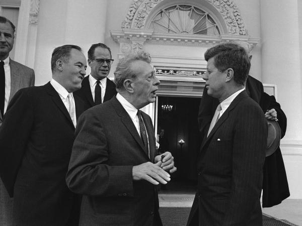 President Kennedy speaks with Senate GOP leader Everett Dirksen of Illinois in March 1961. Dirksen's support was critical to passing civil rights legislation through Congress.