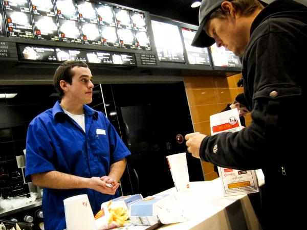 "Kyle Pfifer works at a McDonald's in Williston, a job he got the same day he applied. He says he turned in his application, got lunch, ""and I had a call before I was done eating, and I had a job."""