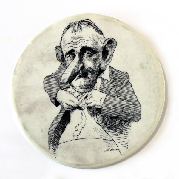 In 1965, Lyndon B. Johnson famously lifted up his shirt and showed the press his scar from a gallbladder surgery. In '66 David Levine drew a caricature of the incident turning the scar into the shape of Vietnam, which was turned into a button the next year.
