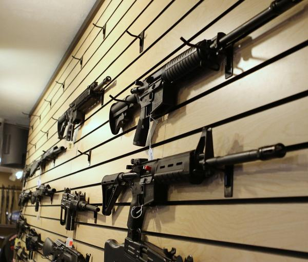 At the Get Some Guns & Ammo store in Murray, Utah, over the weekend, sales were strong and there were empty spots beginning to appear on the wall display of weapons.