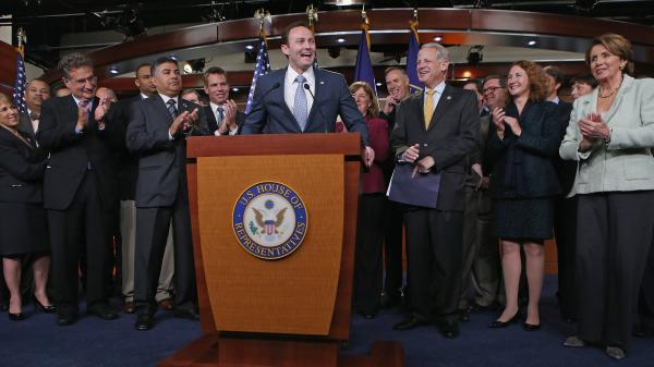 Rep.-elect Patrick Murphy, D-Fla., speaks during a news conference introducing 37 of the newly elected House Democrats at the U.S. Capitol on Nov. 13.