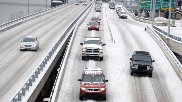 Snow-covered roads in Pittsburgh on Wednesday.
