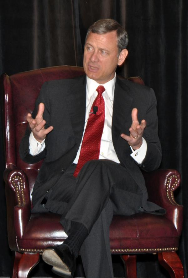 Chief Justice John Roberts speaks in Farmington, Pa., in June.