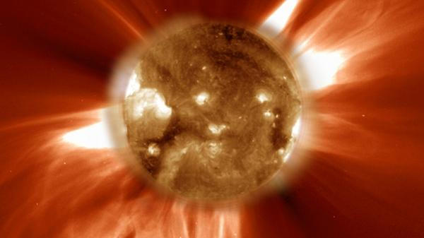 "The sun-orbiting <a href=""http://www.nasa.gov/mission_pages/soho/index.html"">SOHO</a> spacecraft captured this image of filaments erupting off the sun's surface and magnetic plasma blasting into space. The field of view of this image, seen in ultraviolet light, extends some 1.243 million miles from the solar surface."