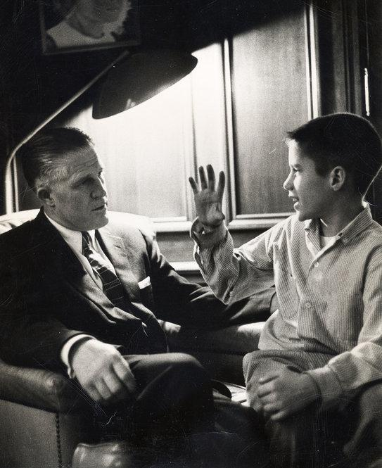 Mitt with his father in their Detroit home in 1957, when George Romney was CEO of American Motors Corp.