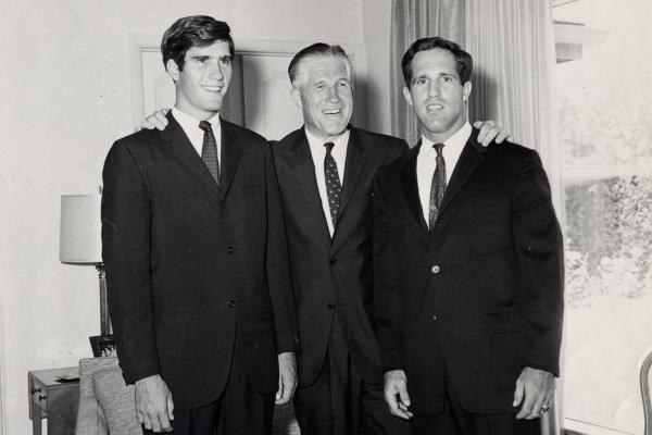 George Romney with his two sons, Mitt (left) and Scott, in an undated photo from their home in Bloomfield Hills, Mich.