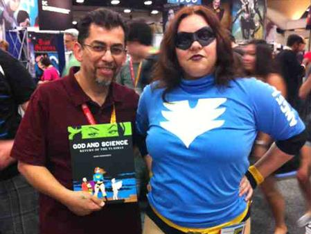<em>Love and Rockets</em> author Jaime Hernandez, with a fan dressed as Boot Angel, one of the characters in <em>God and Science</em>.