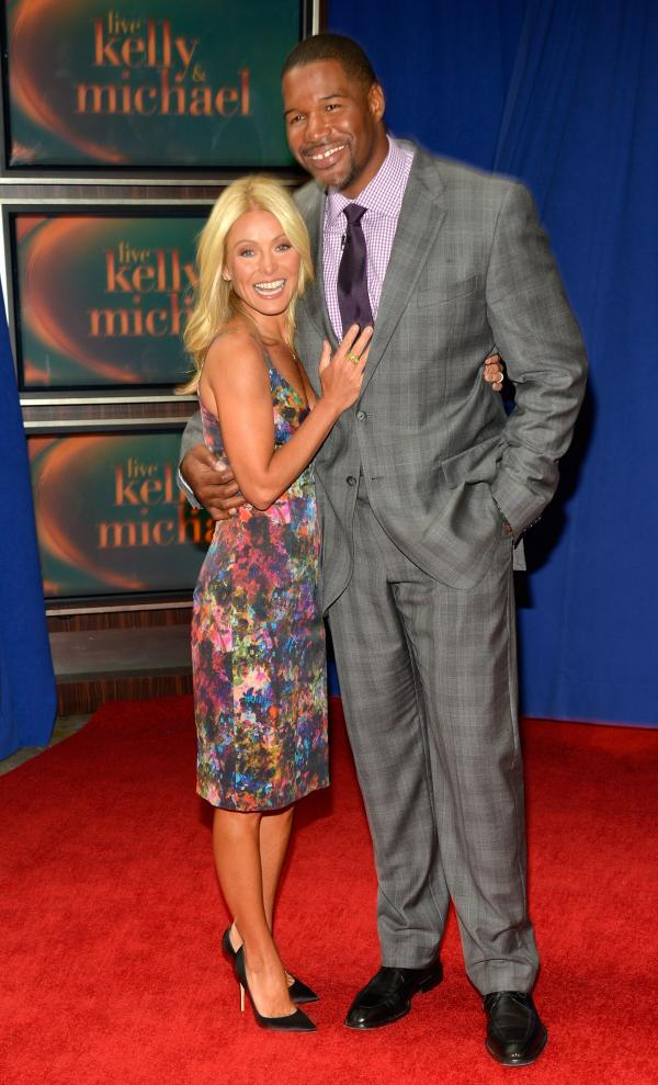 The new team: Kelly Ripa and Michael Strahan earlier today in New York City.