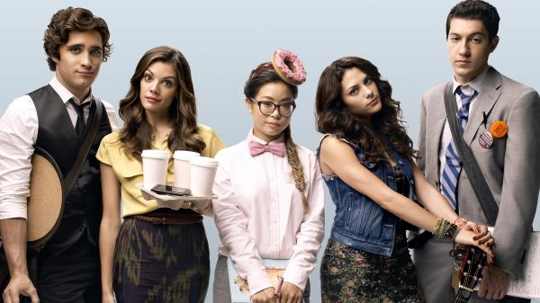 Diego Boneta, Sarah Habel, Michelle Ang, Inbar Lavi and Jared Kusnitz of MTV's <em>Underemployed</em>.