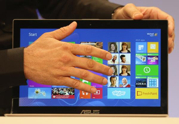 The Microsoft Windows 8 operating system is unveiled at a press conference on October 25 in New York City.