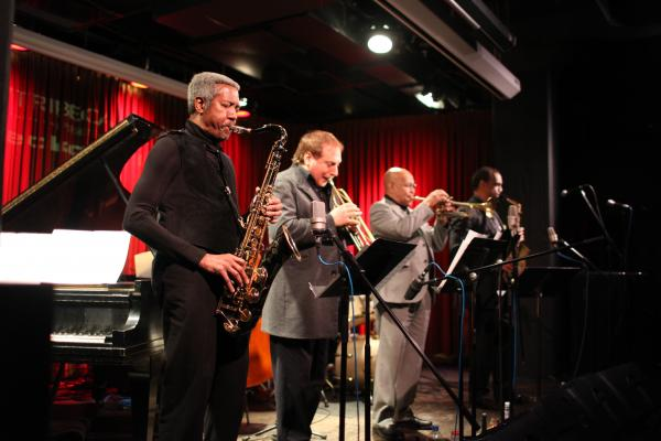 The front line of The Cookers. L-R: Billy Harper, David Weiss, Eddie Henderson, Craig Handy.