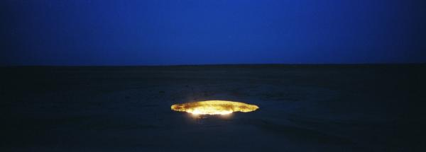 According to Kuwajima, this crater, known as Door to Hell, was made by the Soviet government during a drilling accident in central Turkmenistan in 1971. The area is rich in natural gas, which has given the crater fuel to burn for more than 40 years.