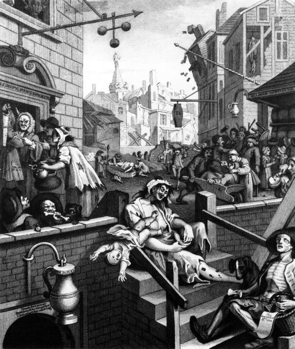 William Hogarth's <em>Gin Lane</em> (1751) was part of a campaign to reduce gin consumption in England.