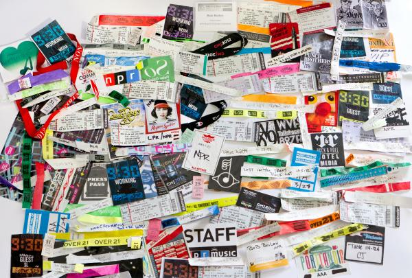 "<a href=""http://apps.npr.org/bob-boilens-wristbands-2012/""><strong>INTERACTIVE: BOB BOILEN'S WRISTBANDS 2012</strong></a> - Wristbands, ticket stubs and badges from a few of the hundreds of shows Bob Boilen saw in 2012."