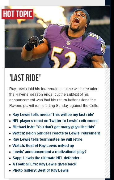 An image of NFL.com's homepage Wednesday shows the websites coverage of Ray Lewis' retirement.