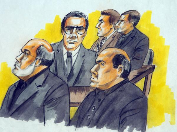 "Defendants in the ""Operation Family Secrets"" trial included Frank Calabrese Sr. (clockwise from left), Joey Lombardo, Anthony Doyle, Paul Shiro and James Marcello. The men are pictured during an Aug. 15, 2007, court hearing in Chicago."