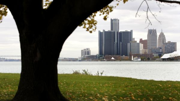 The Detroit skyline as seen from Belle Isle.