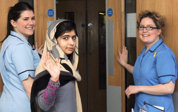 Malala Yousafzai waved earlier today as she was released from a hospital in Birmingham, England.