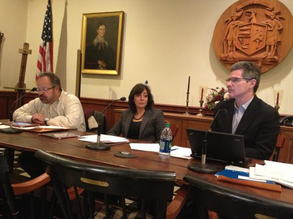 The three selectmen for the town of Weston, Conn., David Muller (left), Gayle Weinstein and Dennis Tracey, hold a town meeting in which they discuss a proposed gun-control ordinance.