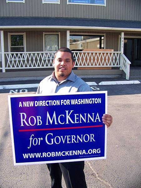 Diego Trejo, 21, is working on Rob McKenna's Tri-Cities-area campaign for Washington governor. Trejo is unusual both in that he's a young Latino Republican, and that he is involved in politics. Photo by Anna King