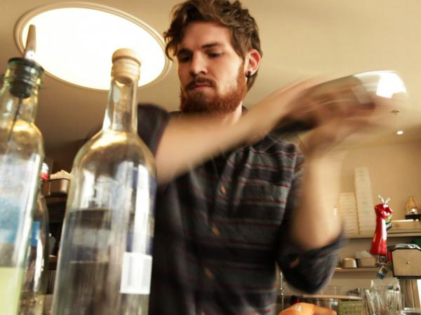 Bartender J.P. Fetherston demonstrates his shaking technique while making a pisco sour at Rappahannock Oyster Bar in Washington, D.C.
