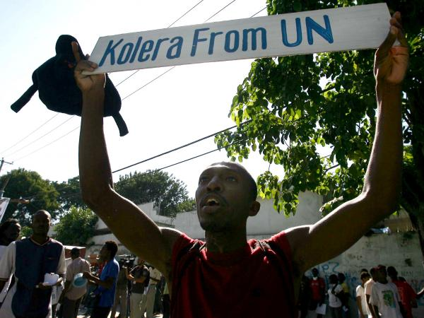 Haitians protest against the United Nations peacekeepers in Port-au-Prince in November 2010.