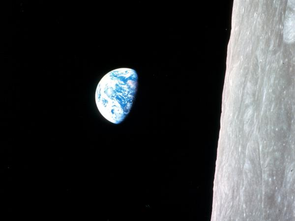 Earthrise, seen from Apollo 8 as it circles the moon in 1968.