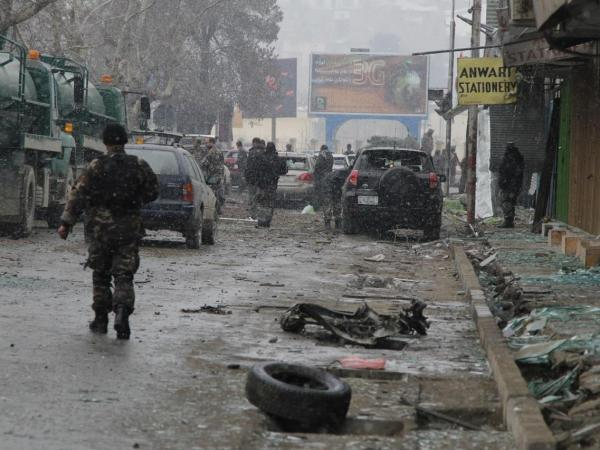 Debris littered the street at the scene of today's attack in Kabul.