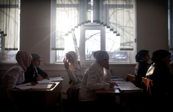 Half of the girls in the ninth grade at a school in Serzhen-Yurt wear a hijab, a departure from Chechen tradition.