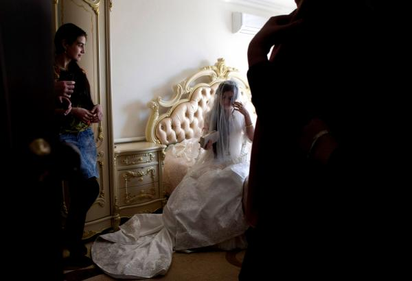 Jamila Idalova, 16, on her wedding day. The teen bride was kidnapped by her boyfriend. Idalova's family eventually approved the marriage. Bridal kidnappings are outlawed under Ramzan Kadyrov, head of the Chechen Republic.