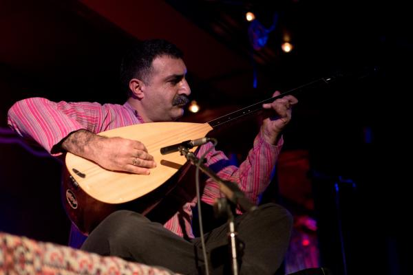 Erdal Erzincan performed with a bağlama, which is a Turkish stringed instrument, similar to a guitar. This was both Kalhor and Erzincan's first performances at globalFEST.