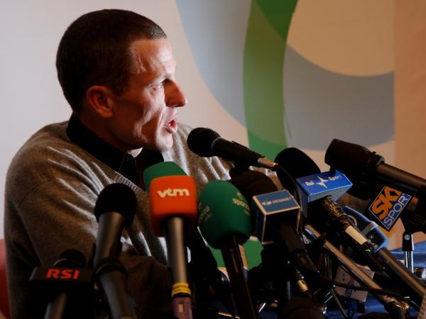 Lance Armstrong speaks at a press conference of the 100th Milan-San Remo Cycle Race on March 20, 2009.
