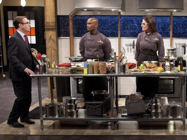 Ted Allen addresses the chefs competing on the <em>Chopped</em> Holiday Special.