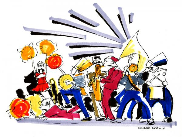 Michael Arthur's drawing of the Balkan brass band Mucca Pazza, made during a show at Joe's Pub in New York.