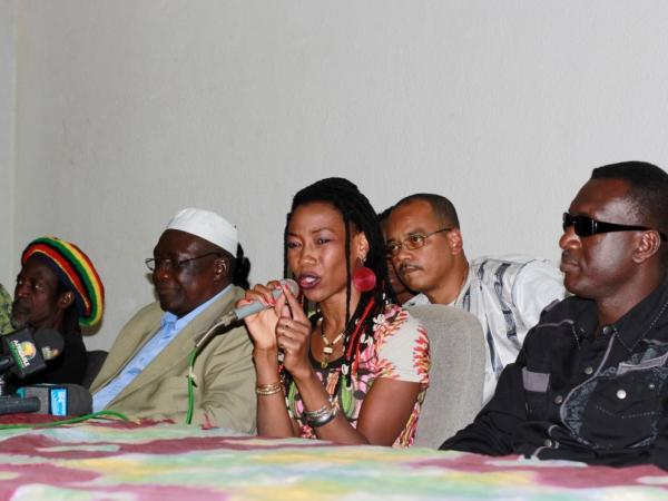 "Fatoumata Diawara and some of her musical collaborators on ""Voices United for Mali"" at a press conference held in Bamako, Mali on Jan. 17, 2013."