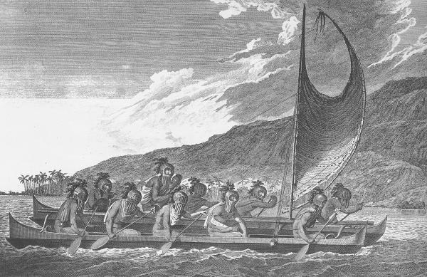 The Polynesians had sophisticated, double-hulled canoes that were built for deep sea voyages. An artist aboard Capt. Cook's ship drew a picture when they arrived in Hawaii.